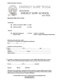 Inscription form - Energy Surf School at Messanges